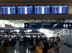 Экраны табло в аэропорту Праги