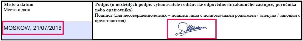 Образец заполнения анкеты на шенгенскую визу в Чехию — еще одна подпись