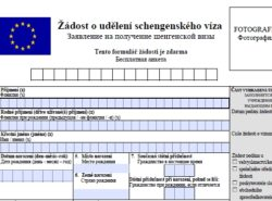 Заявление для шенгенской визы в Чехию