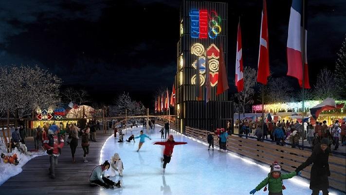 На фото каток в Праге зимой
