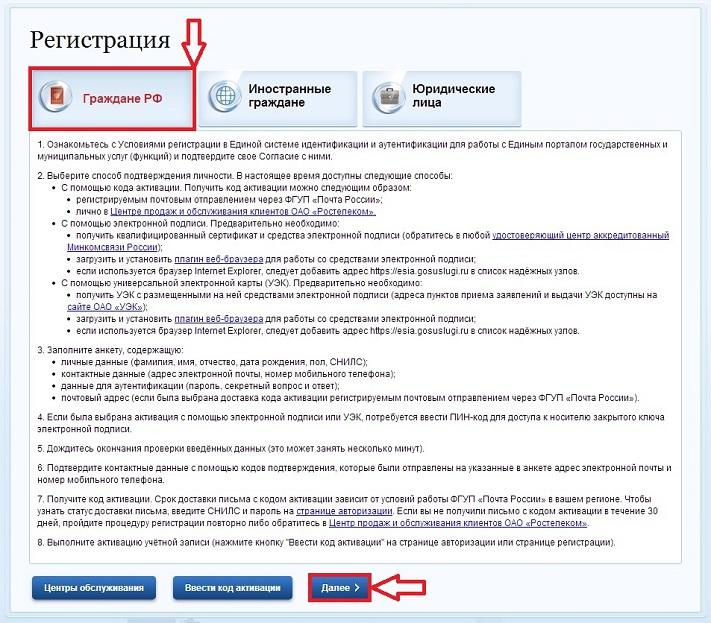Регистрация гражданина РФ на госуслугах