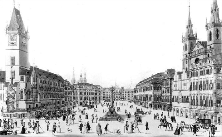Староместская площадь на старой  гравюре