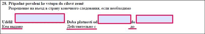Образец заполнения анкеты на шенгенскую визу в Чехию — пункт 28