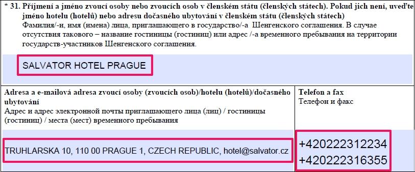 Образец заполнения анкеты на шенгенскую визу в Чехию — пункт 31