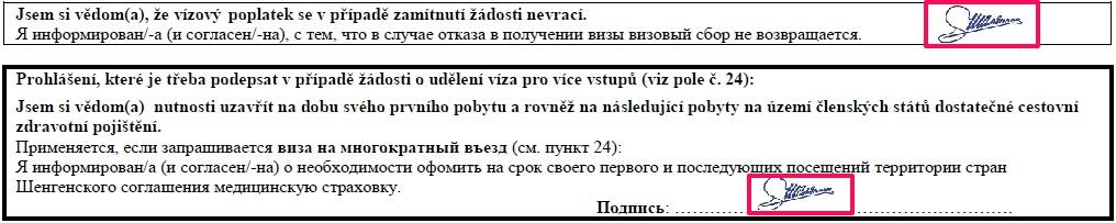 Образец заполнения анкеты на шенгенскую визу в Чехию — подписи