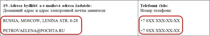 Образец заполнения анкеты на шенгенскую визу в Чехию — пункт 19