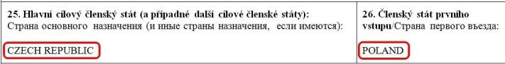 Образец заполнения анкеты на шенгенскую визу в Чехию — пункт 25,26